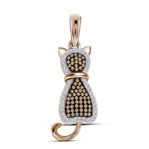 10kt Rose Gold Womens Round Red Color Enhanced Diamond Kitty Cat Feline Animal Pendant 1/4 Cttw