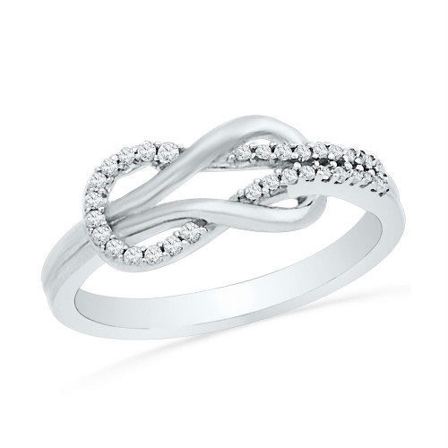 10kt White Gold Womens Round Diamond Double Lasso Infinity Ring 1/6 Cttw