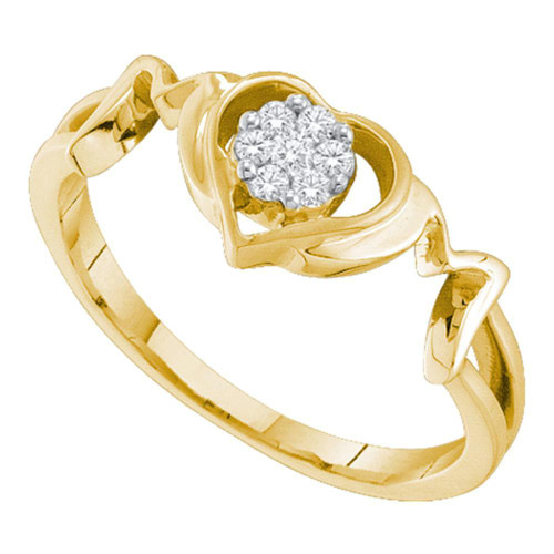 10kt Yellow Gold Womens Round Diamond Mom Mother Ring 1/10 Cttw
