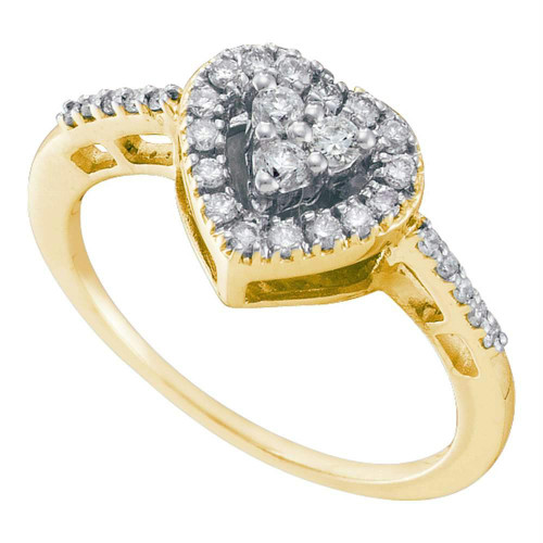 14kt Yellow Gold Womens Round Diamond Heart Cluster Ring 1/3 Cttw