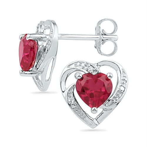 Sterling Silver Womens Round Lab-Created Ruby Diamond Heart Stud Earrings 2-1/5 Cttw