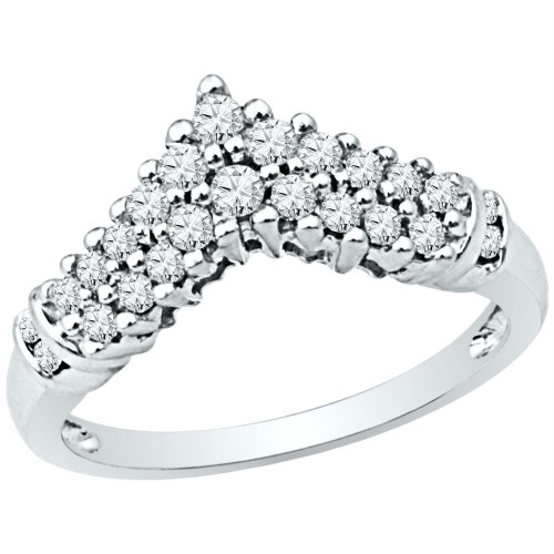 10k White Gold Womens Round Diamond Chevron Band Ring 1/2 Cttw