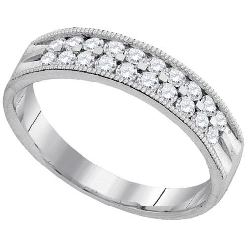 10kt White Gold Womens Round Diamond Double Row Milgrain Wedding Band 1/2 Cttw
