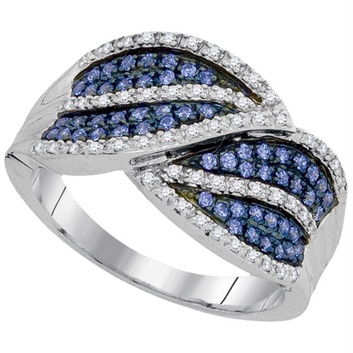 10kt White Gold Womens Round Blue Color Enhanced Diamond Striped Band Ring 3/8 Cttw