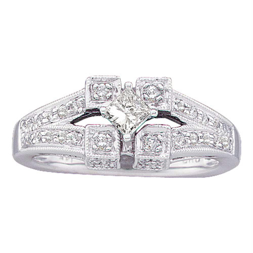 14kt White Gold Womens Princess Diamond Solitaire Bridal Wedding Engagement Ring 1/2 Cttw - 18519-6.5