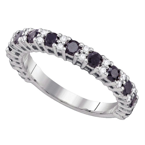 10kt White Gold Womens Round Black Color Enhanced Diamond Wedding Band Ring 1.00 Cttw