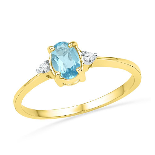 10kt Yellow Gold Womens Oval Lab-Created Blue Topaz Solitaire Diamond Ring 1.00 Cttw