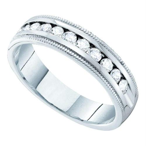 14kt White Gold Womens Round Channel-set Diamond Single Row Wedding Band 1/2 - 40731-8.5