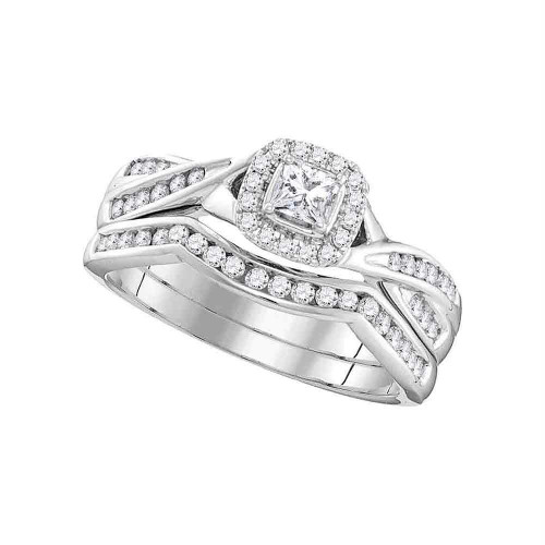 10k White Gold Womens Princess Diamond Halo Bridal Wedding Engagement Ring Band Set 1/2 Cttw