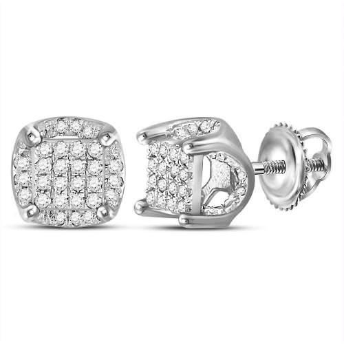 10kt White Gold Mens Round Diamond Cluster Stud Earrings 1/5 Cttw