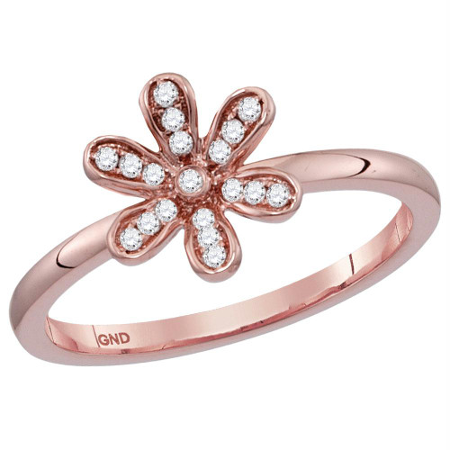 14kt Rose Gold Womens Round Diamond Flower Floral Stackable Band Ring 1/10 Cttw