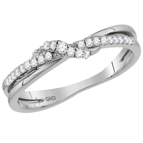 10kt White Gold Womens Round Diamond Crossover Stackable Band Ring 1/6 Cttw