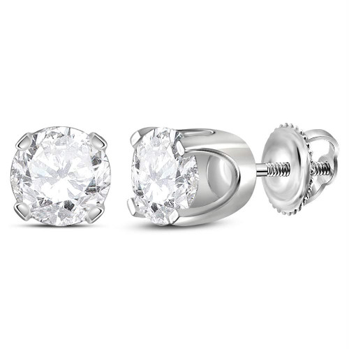 14kt White Gold Unisex Round Diamond Solitaire Stud Earrings 1-3/8 Cttw - 11969