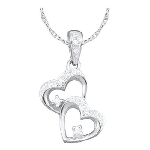 10k White Gold Womens Diamond Double Heart Love Pendant 1/6 Cttw