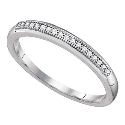 10k White Gold Womens Round Diamond Bridal Wedding Anniversary Band 1/20 Cttw
