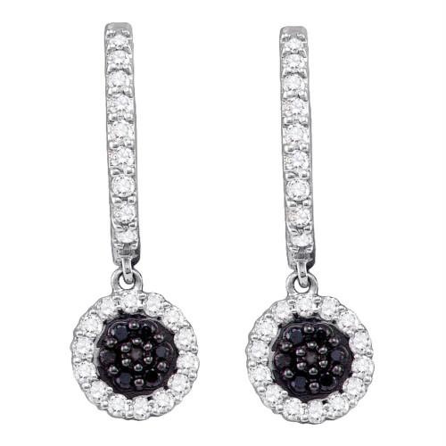 10k White Gold Black Color Enhanced Diamond Womens Hoop Flower Cluster Dangle Earrings 1/2 Cttw
