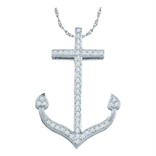 10kt White Gold Womens Round Diamond Anchor Nautical Ocean Pendant 1/6 Cttw