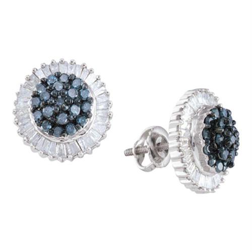 10kt White Gold Womens Round Blue Color Enhanced Diamond Cluster Earrings 1.00 Cttw