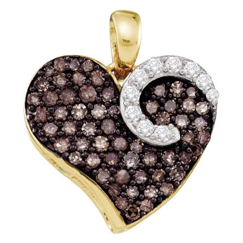 10kt Yellow Gold Womens Round Cognac-brown Color Enhanced Diamond Heart Love Pendant 3/4 Cttw