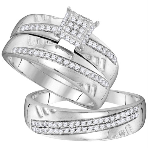 10kt White Gold His & Hers Round Diamond Cluster Matching Bridal Wedding Ring Band Set 1/2 Cttw - 104101-10.5