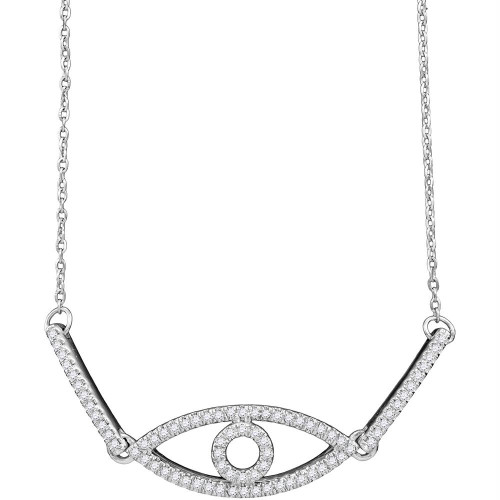 10kt White Gold Womens Round Diamond Eye Chain Bracelet 1/5 Cttw