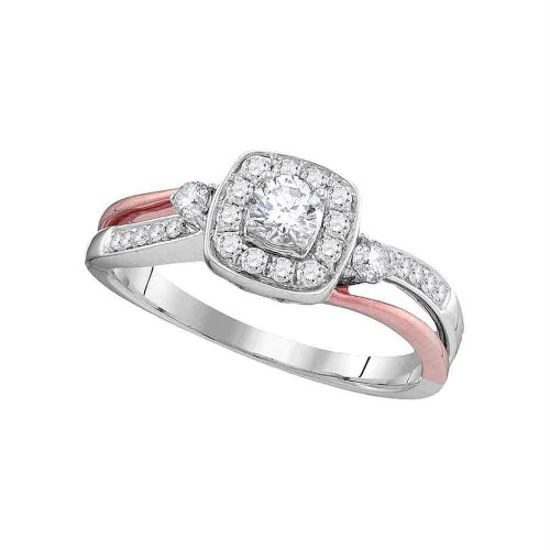 10k White Gold Womens Round Diamond 2-tone Bridal Wedding Engagement Anniversary Ring 1/2 Cttw