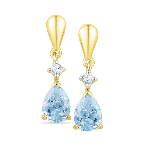 10k Yellow Gold Lab-Created Blue Swiss Topaz & Diamond Dangle Earrings 1-3/4 Cttw