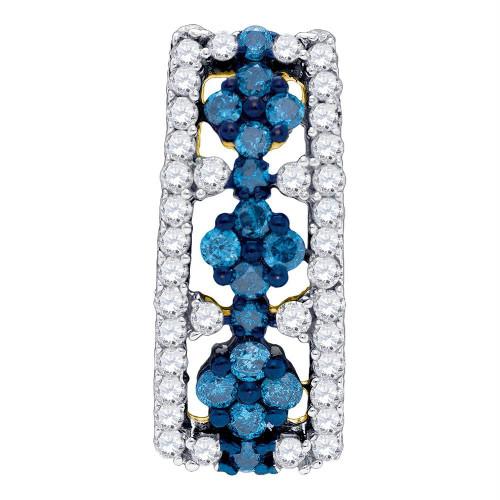 10kt Yellow Gold Womens Round Blue Color Enhanced Diamond Cluster Vertical Pendant 1/2 Cttw