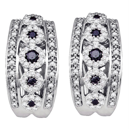 10k White Gold Black Color Enhanced Diamond Womens Unique French-clip Cuff Earrings 3/4 Cttw