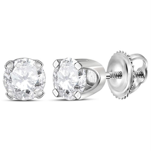 14kt White Gold Unisex Round Diamond Solitaire Stud Earrings 1/2 Cttw