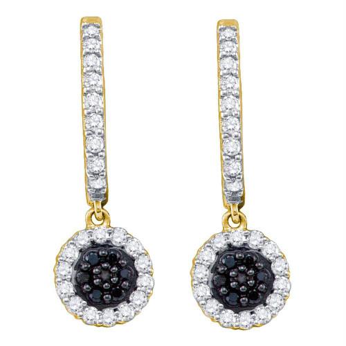10k Yellow Gold Black Color Enhanced Diamond Womens Hoop Flower Cluster Dangle Earrings 1/2 Cttw