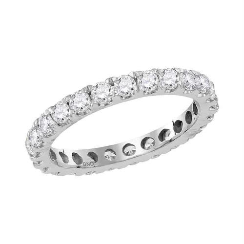 14kt White Gold Womens Round Diamond Eternity Wedding Anniversary Ring 1-1/2 Cttw