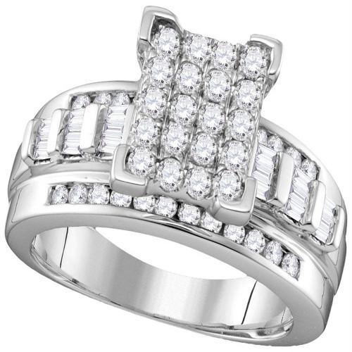 10k White Gold Diamond Cindy's Dream Cluster Bridal Wedding Engagement Ring 2 Cttw - Size 6