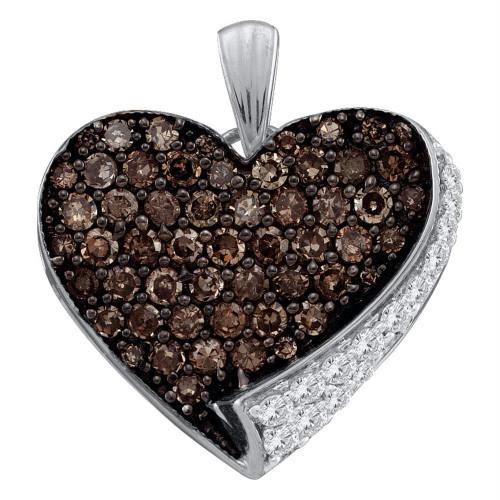 10kt White Gold Womens Round Cognac-brown Color Enhanced Diamond Heart Love Pendant 7/8 Cttw