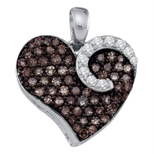 10k White Gold Cognac-brown Diamond Womens Unique Heart Cluster Pendant 3/4 Cttw