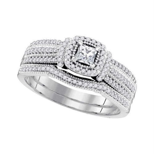 10k White Gold Princess Diamond Bridal Wedding Engagement Ring Band Set 1/2 Cttw