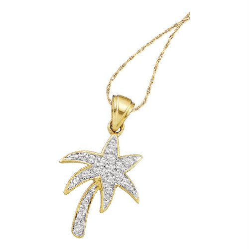 10kt Yellow Gold Womens Round Diamond Palm Tree Nautical Pendant 1/10 Cttw