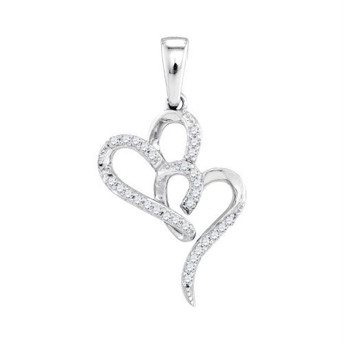 10kt White Gold Womens Round Diamond Double Heart Love Pendant 1/10 Cttw