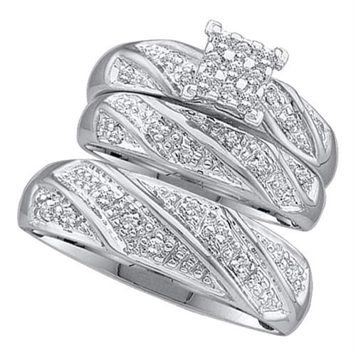 10k White Gold Diamond Cluster Womens Mens Matching Trio Wedding Engagement Bridal Ring Set 1/4 Cttw