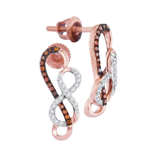 10kt Rose Gold Womens Round Red Color Enhanced Diamond Infinity Screwback Earrings 1/6 Cttw - 98461