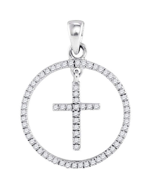 10k White Gold Round Diamond Womens Christian Cross Circle Pendant 1/4 Cttw