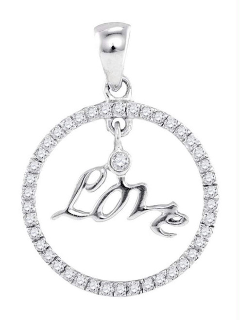 10k White Gold Round Diamond Womens Circular Captured Love Circle Pendant