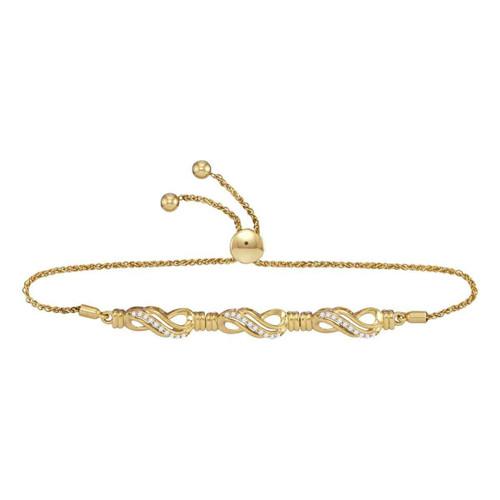 10kt Yellow Gold Womens Round Diamond Crossover Bolo Bracelet 1/6 Cttw