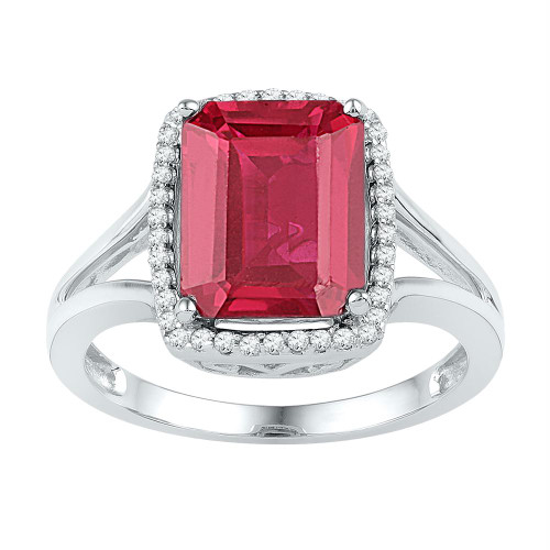 10kt White Gold Womens Emerald Lab-Created Ruby Solitaire Diamond Ring 4-5/8 Cttw