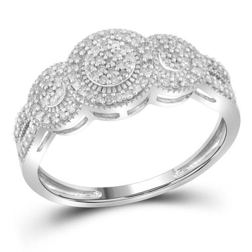 10kt White Gold Womens Round Diamond Triple Cluster Bridal Wedding Engagement Ring 1/4 Cttw