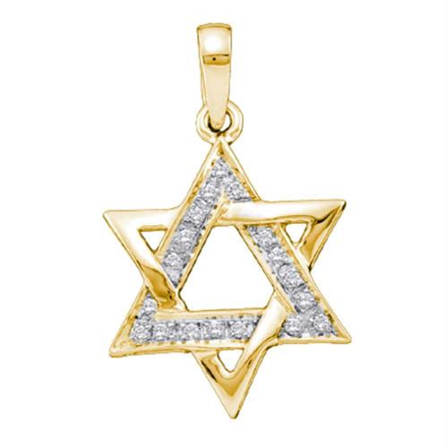 14k Yellow Gold Round Diamond Star Magen David Jewish 6-point Pendant 1/10 Cttw