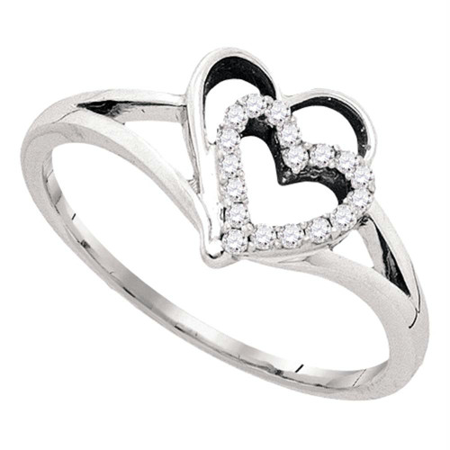10kt White Gold Womens Round Diamond Double Nested Heart Love Ring 1/8 Cttw