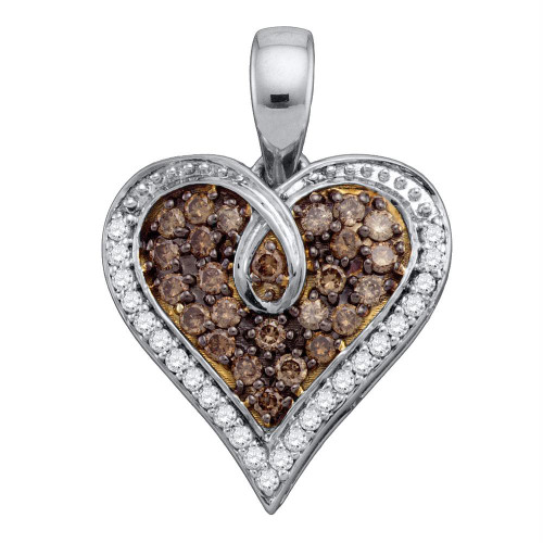 10kt White Gold Womens Round Brown Color Enhanced Diamond Heart Pendant 1/2 Cttw