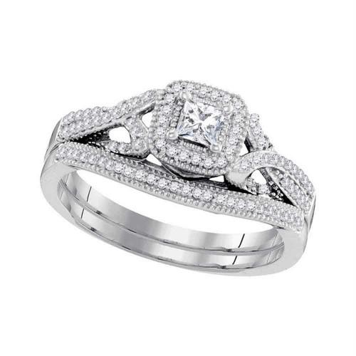 10kt White Gold Womens Diamond Princess Bridal Wedding Engagement Ring Band Set 3/8 Cttw