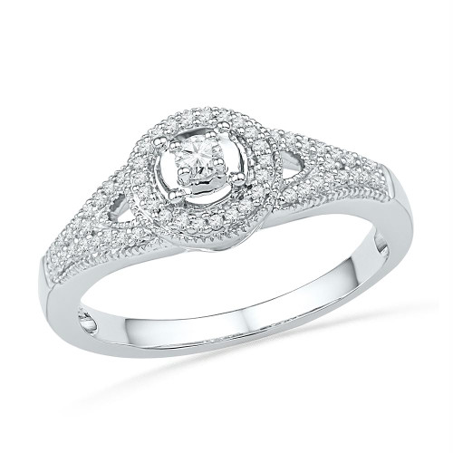 10kt White Gold Womens Round Diamond Encircled Solitaire Milgrain Promise Bridal Ring 1/4 Cttw